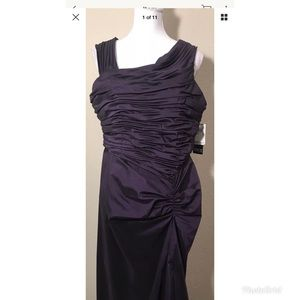 Adrianna Papell Purple Draped Long Gown Sz. 16